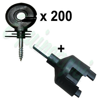 RING INSULATORS x 200 - Electric Fencing Fence Screw In + Spinner Tool