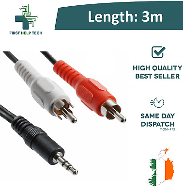 3.5mm 3m Stereo Jack to 2 Twin RCA Phono Male Cable TV PC Aux Audio Red White