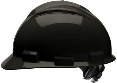 Bullard Vented Cap Style Hard Hat with 4 Point Ratchet Suspension, Black