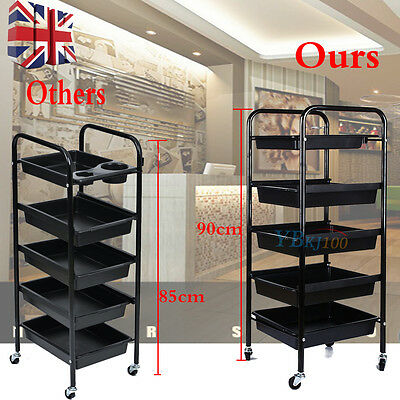 Salon Hairdresser 5 Drawer Tier Beauty Storage Trolley Colouring Spa Roller Cart