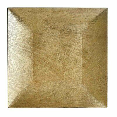 "24 pcs 12"" GOLD SQUARE WOODEN TEXTURE CHARGER PLATES Wedding Party Dinner SALE"