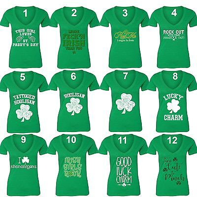 St Patricks Day shirt Shamrock Clover Paddy's Irish Women Vneck T-Shirt Green