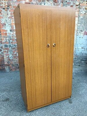 "Retro Vintage Teak Effect Two-Door Single Wardrobe By ""Schreiber Furniture"""