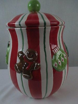 Cracker Barrel Gingerbread Christmas Sweets Cookie Jar Red White Striped Ceramic