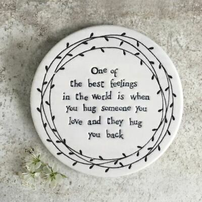 East of India Leaf Coaster One of the best feelings Hug Keepsake Gift