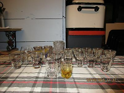 Vintage Lot of 18 Shot Glasses Barware Collectibles Inc~ 1 Hennessy Cognac Glass