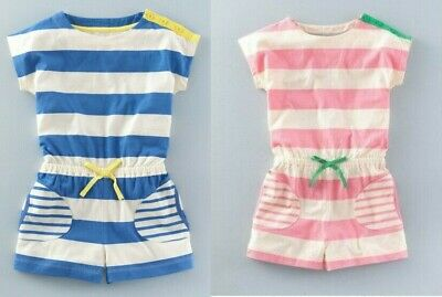 Mini Boden Jersey Stripe Playsuit Shorts 1.5-12 years pink blue Jumpsuit
