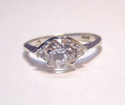 Vintage Art Deco 10K 417 Solid White Gold White Sapphire or Topaz Ring Size 5.25