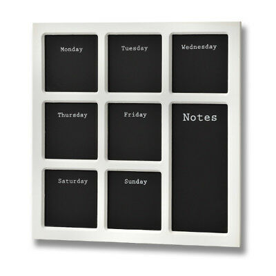 Wooden Weekly Planner Memo Board Black & White Wall Mounted 35cm