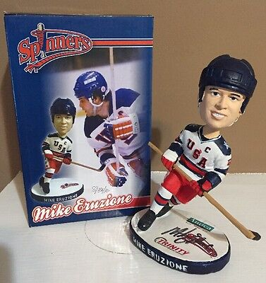 MIKE ERUZIONE Spinners Bobblehead, 1980 Miracle on Ice Signed/Autographed