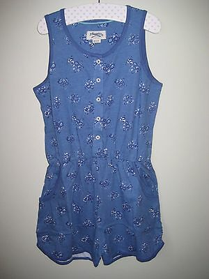 Boden Johnnie B  Jersey Floral Playsuit Shorts 9-16 years Blue Jumpsuit