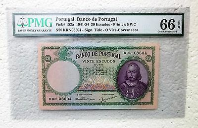 1941-54 Portugal PMG Gem Uncirculated 66 Pick# 153a 20 Escudos (433)