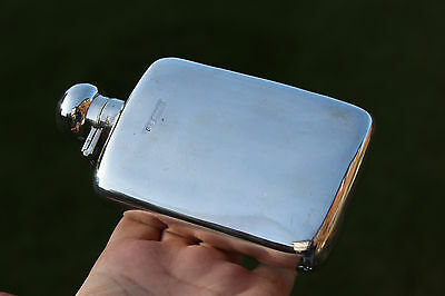 1921 GEORGE UNITE Solid Silver Hip Flask