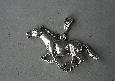"""Running Horse Sterling Silver Necklace Wide Bail Slide Pendant 1 1/2""""x2"""" Western"""