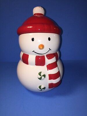 Hallmark Ceramic Cookie Jar  Snowman With Red Cap Christmas Holiday