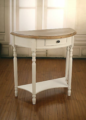 French Provincial Lamp Table Half Round Side Table Antique White with Timber Top