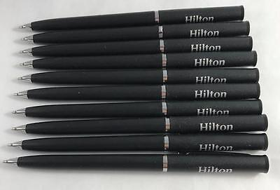 NEW Lot of 10 Hilton Hotel Twist Type Rectractable Black Ink Ball Point Pens