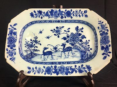 Antique Chinese Blue And White Plate 18Th Century Qianlong Period