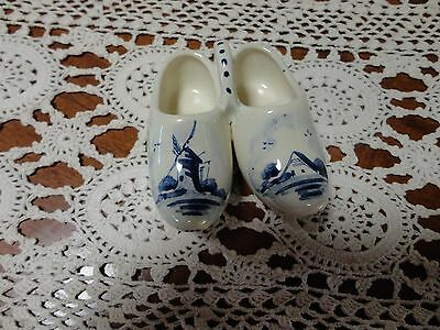 collectable vintage blue delft mini clogs hand painted...windmill ect