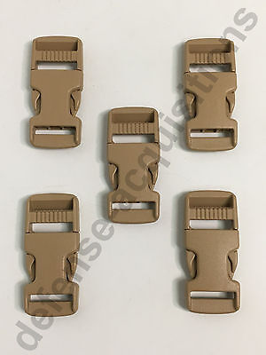 SET OF 5 Side Release Side Squeeze Single Adjust Buckle 3/4 INCH SAND