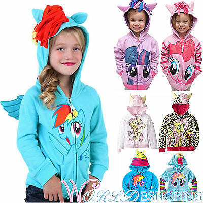 Girls Kids Toddler Hoodie My Little Pony Wings Sweatshirt Coat Zip Jacket 0-8Y