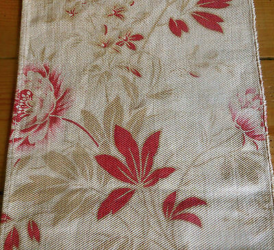 Antique French Peony Floral Cotton Fabric #2 ~ Raspberry Red Pink Tan