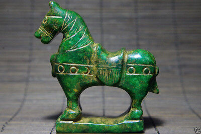 Antiques old Natural green jade hand carved China's old jade horse statue