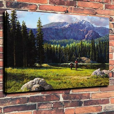 "Decor Quality Art Canvas Print, Oil Painting western, cowboy ,16""x20"""