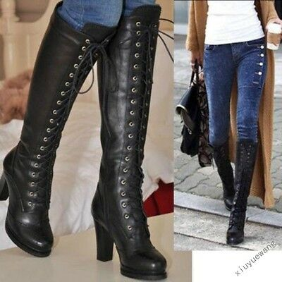 Womens Lace Up Chunky High Heels Knee High Brogue Riding Boots Punk Shoes Size #