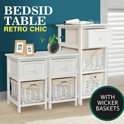 Modern Wooden Bedside Tables Storage Cabinet Chest Lamp Nightstand Drawers Unit