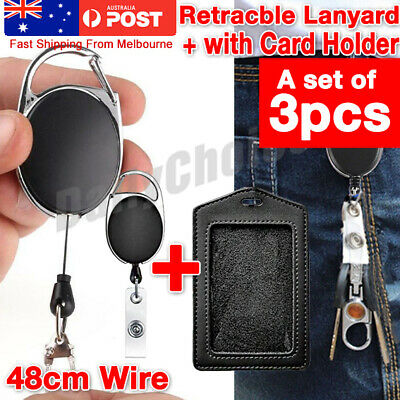 3x Retractable Lanyard ID Badge Opal Card Holder Business Security Pass AU STOCK