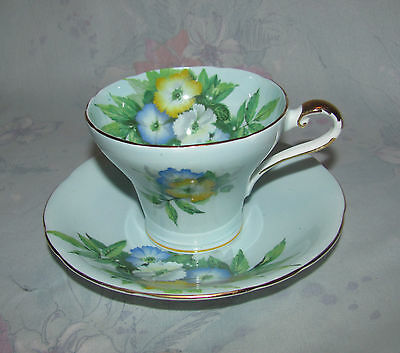 Vintage Aynsley Tea Cup and Saucer Baby Blue with Floral design Made in England