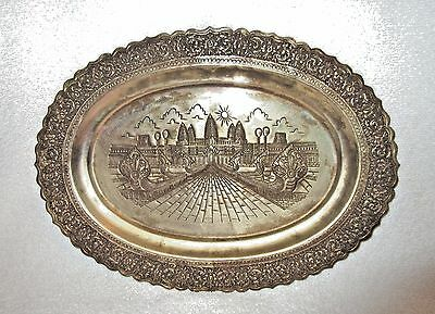 Vintage Hammered Brass Wall Plaque/Tray Middle East/Asia Landmark