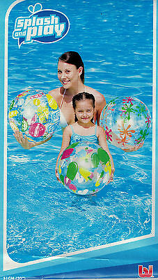 Kids & Adults BRIGHT Inflatable Beach Ball Holiday Play Summer Pool Toys 51cm