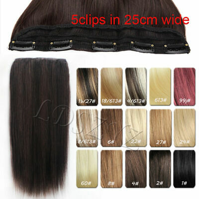 One Piece Clip In Remy 100% Human Hair Extensions Full Hair pieces 120g 22-30""