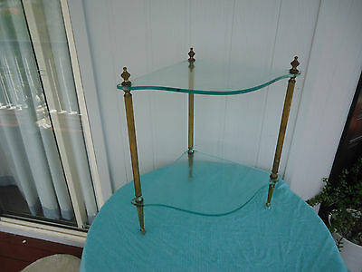 vintage 2 tier counter top brass & glass corner stand or side table