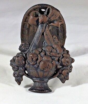 Cast Iron Door Knocker Flower Basket With Bow Beautiful Vintage Floral Detail