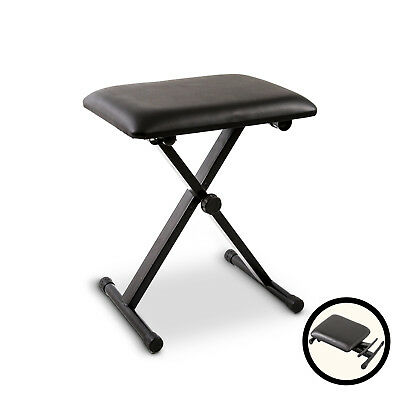 Portable Piano Stool Adjustable Folding 3 Way Keyboard Leather Black Bench Seat
