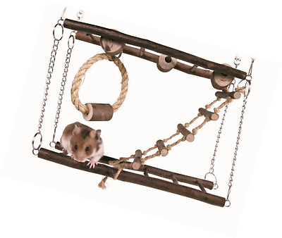 Trixie Small Pet Toy Suspension Natural Wood Hanging Bridge Ladder Hamster Mice