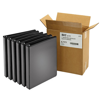 Cardinal 1-Inch, Round Ring View Binder, Black, Case of 6 Binders (00412)