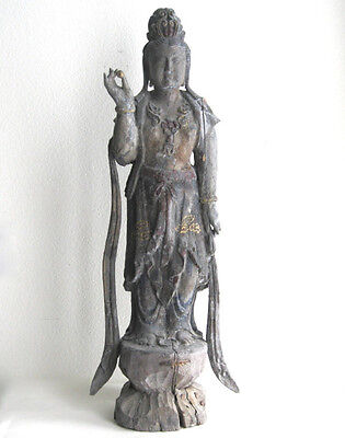 "32"" Tall Antique Chinese Carved Wood Buddha Statue"