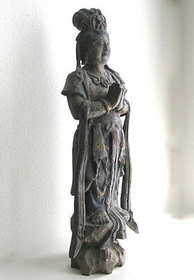 "30"" Tall Antique Chinese Carved Wood Praying Chinese Statute Buddha"