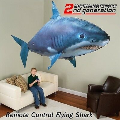 2017 Remote Control RC Flying Inflatable Fish Air Swimmer Shark Blimp Balloon AU