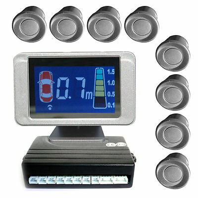 Parking sensor with 8 A-Class sensors: 4 front and 4 rear silver LCD Display