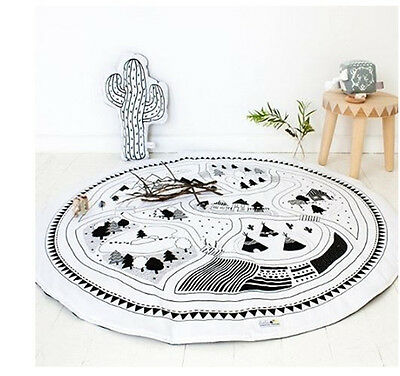 Soft Cotton Baby Kids Game Gym Activity Play Mat Crawling Blanket Floor Rug PQ