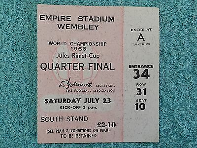 1966 - ORIGINAL WORLD CUP QUARTER FINAL MATCH TICKET - ENGLAND v ARGENTINA