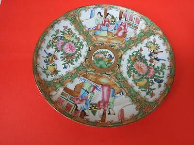 Antique Cantonese Famille  Rose Oriental Wall  Plate 19th Century Rare !