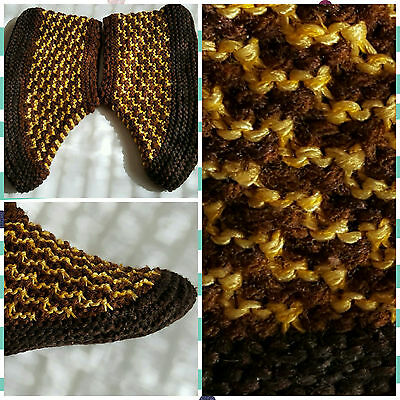 Traditional Bulgarian Soft - Warm - Colorful - Knitted Socks/Slippers - Handmade