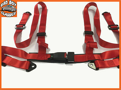 PAIR of Quality Racing Bucket Car Seat Belt Harnesses 4 Point RED