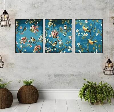 (Framed/Frameless) Set of Three Painting By Number Kits S5 F3P014 Birds Trees